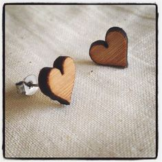 SALE 15% OFF  Love heart studs - eco friendly laser cut wooden jewelry by One Happy Leaf on Etsy