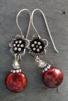 Red+Coin+Pearl+Earrings+by+kpottery+on+Etsy,+$50.00