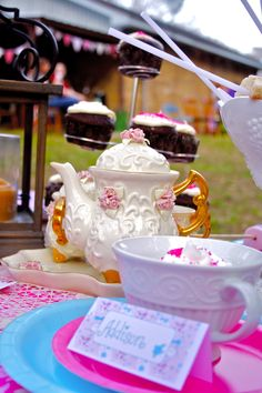 """place setting at """"Mad Hatter"""" tea party"""