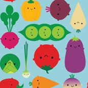 Vegetable Garden (blue) by marcelinesmith, Spoonflower digitally printed fabric