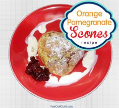 Orange Pomegranate Scones Recipe. Perfect for a summer picnic on the lawn, or on the porch tomorrow, celebrating life! Delicious. #recipes