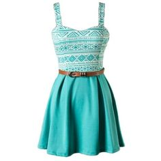 Teal Aztec Printed Belted Dress ($29) ❤ liked on Polyvore featuring dresses, dresses with belts, blue dress with belt, aztec dress, aztec print dress and blue dress