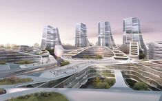 The buildings in the master plan for the International Investement Square in Beijing fall into two distinct categories, low rise buildings and towers. The urban organisation utilizes a consistent distribution of build. Revit Architecture, Studios Architecture, Futuristic Architecture, Classical Architecture, Future Buildings, Modern Buildings, Un Studio, Sci Fi City, Eco City