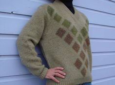 Green Mens Boyfriend Sweater 1960s by bycinbyhand on Etsy, $32.00