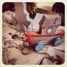 Hutch Studio. krys kirkpatrick design. Idea for a pull-toy for the baby line.  Prototypes and drawings