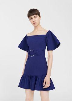 Sukienka z falbankami i ozdobnym kółkiem   MANGO
