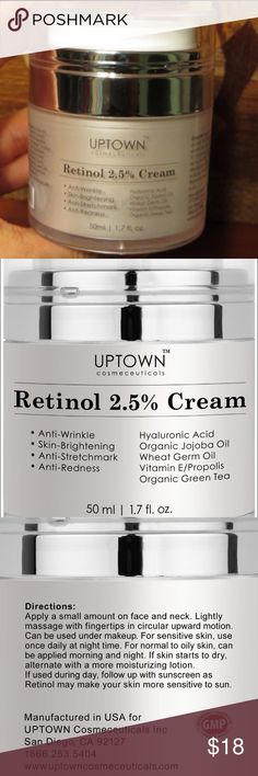 ✨NEW✨Organic Anti-aging Cream 71% Organic ingredients; Hydrates Skin and Helps recapture a youthful appearance Retinol cream helps reduce the appearance of wrinkles, blemishes, age spots, stretch marks, blotches  Retinol may help diminish fine lines, fade age spots and reduce pores; Some peeling may occur from the retinol; It might make your skin sensitive to the sun; Sunscreen is highly recommended; Retinol cream is best used as night cream Retinol is known to be help in improving…
