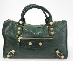 BALENCIAGA Green Leather Giant 21 Gold City Zip Double Strap Shoulder Handbag at www.ShopLindasStuff.com