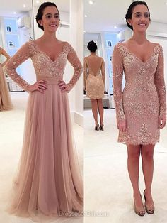 Detachable V-neck Tulle Appliques Lace Long Sleeve New Arrival Prom Dress