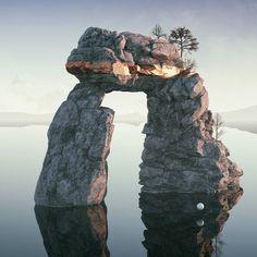 #torii #cinema #4d #c4d #cinema4d #octane #render #octanerender #photoshop #daily #3d #gfx #graphics #graphic #design #abstract #art #surreal #reflection #landscape #water #rock #sunset #gate #geometry #bronze #realistic #mist #rsa_graphics by hoodass