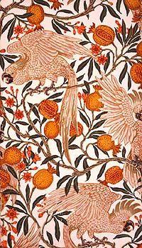 Cuckatoo & pomegranate, Walter Crane Design Textile, Design Floral, Fine Art Prints, Framed Prints, Poster Prints, Canvas Prints, Fabric Wallpaper, Of Wallpaper, Wallpaper Designs