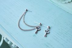 Silver Key Crystal Stud Double Pierce Cartilage by oflovelythings, $11.00