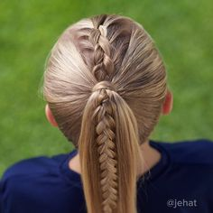 "We love this Dutch braided ponytail! It's been our favorite ""go to"" summer style so far this year! Softball Hairstyles, Sporty Hairstyles, Cute Girls Hairstyles, Work Hairstyles, Kids Braided Hairstyles, Braided Ponytail, Summer Hairstyles, Pretty Hairstyles, Hairdos"