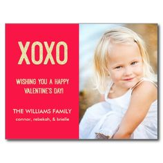 XOXO Valentine's Day Photo Postcard / Red