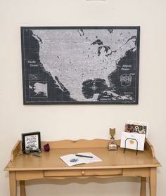 USA Push Pin Travel Map Rustic Vintage Cork Pin Board Canvas Map - Create a us map with pins