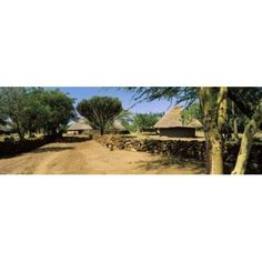 Stone wall along a dirt road Thimlich Ohinga Lake Victoria Great Rift Valley Kenya Canvas Art - Panoramic Images (18 x 6)