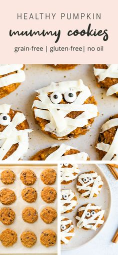 Healthy soft pumpkin cookies decorated with frosting and candy eyes to make spooky mummy cookies. So cute and perfect for Halloween. #mummycookies #halloweenrecipes #pumpkincookies #spooky #eatingbirdfood #glutenfree #healthycookies Pumpkin Mummy, Soft Pumpkin Cookies, Healthy Pumpkin, Healthy Cookies, Cookie Decorating, Grain Free, Delicious Desserts, Brunch, Tasty