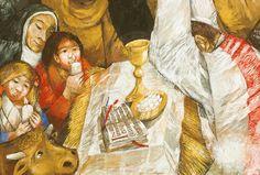 Und auf dem Liedblatt noch einmal anders dargestellt: wir sehen den Heiligen Franziskus, der das Jesuskind hoch hebt, davor einen Priester, der die Hostie ...