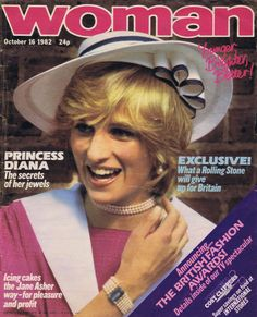 Woman magazine. Front cover photo - Princess Diana on September 03, 1982 at the wedding of former flatmate and bride, Carolyn Pride and James Bartholomew (groom) at Chelsea Old Church, London. Diana is wearing a pink with white sailor dress she later wore in pregnancy with Prince Harry, in 1984.