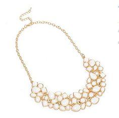 Fashion Gold Tone Chain Style Jewelry Rhinestone White Resin Pendant Necklace Jerollin