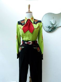 Vintage western outfit, pants and shirt, floral embroidery