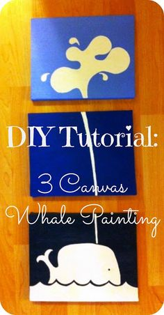 2MESSY: DIY ~ Three Canvas Whale Painting