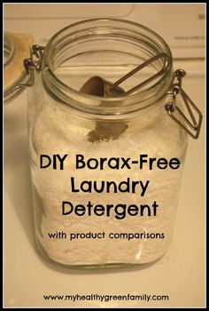 Homemade Borax-Free Laundry Detergent with price and product comparisons.