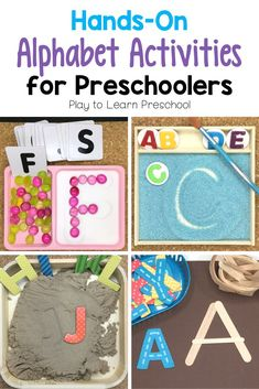 Hands-On Alphabet Activities 10 fun, creative ways for preschoolers to practice their letter recognition and letter-sound connection. Preschoolers will enjoy these activities and will be learning at the same time! Letter H Activities For Preschool, Preschool Literacy, Alphabet Activities, Creative Activities, Literacy Activities, Preschool Alphabet, Alphabet Crafts, Alphabet Letters, Literacy Centers