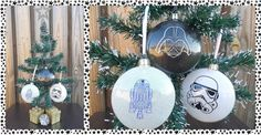 Character Themed Christmas Baubles (Starwars) Glass Christmas Baubles, Christmas Bulbs, Star Wars Christmas Tree, Decorative Plates, Colours, Shapes, Holiday Decor, Starwars, Handmade Gifts