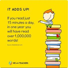 The more words kids read, the better they score on reading proficiency tests! Thanks Statistic Brain for the image. Library Quotes, Library Posters, Library Books, Book Quotes, Library Ideas, Library Memes, Reading Posters, Class Library, Elementary Library
