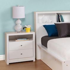 Pure White Nolita Tall 2-drawer Nightstand