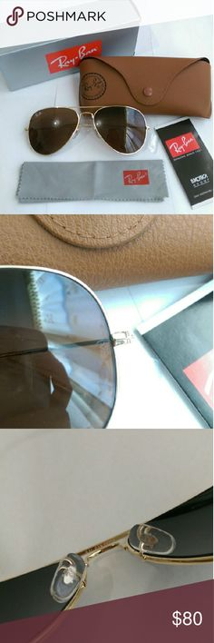 Ray-ban aviator 3025 sunglasses Price firm Authentic Brand new in box Unisex Made in Italy (on the right arm) Size 58mm Lens color-- Brown (real glass lens for better vision) Gold frame Comes with box , case, cleaning cloth and booklet Fast shipping (ship with 2-3 day priority mail within 24 hours) Ray-Ban Accessories Sunglasses