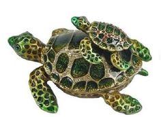 RUCINNI Sea Turtle & Baby Jeweled Trinket Box with SWAROVSKI Crystals
