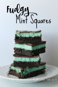 Fudgy Mint Squares. Like brownies with a minty cheesecake layer, topped with a chocolate ganache. Perfect for St. Patrick's Day!