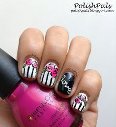 Floral Nails & Stripes