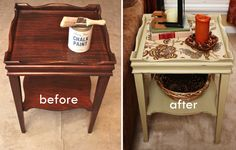 Before and After Pictures of Annie Sloan Side Table Makeover - idea for wallpaper scraps