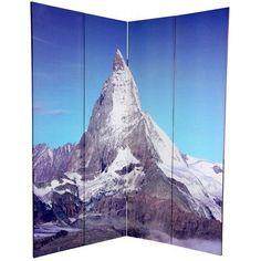"Oriental Furniture 72"" x 63"" Double Sided Matterhorn / Everest 4 Panel Room Divider"