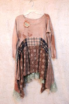 REVIVAL Boho Shirt, Shabby Chic Romantic, Hippie Bohemian Junk Gypsy Style, Mori Girl, Lagenlook, Cowgirl Country Girl Chic,Tribal Free People Style, Anthropologie Inspired