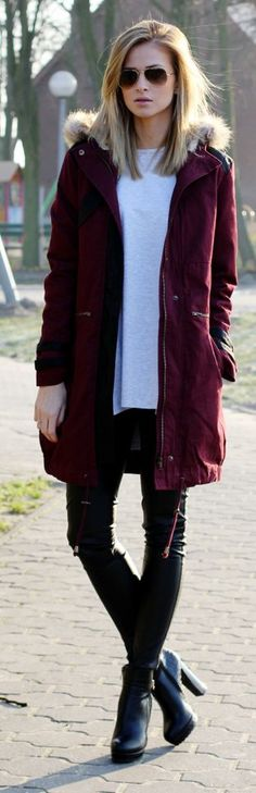 Burgundy Hooded Parka by Beauty - Fashion - Shopping