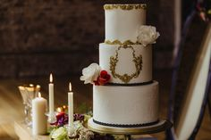 Wedding cake, flowers and candles