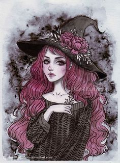 Inktober- Witch Art Print by ARiA Illustration - X-Small Witch Painting, Witch Drawing, Witch Art, Fantasy Witch, Fantasy Art, Art Sketches, Art Drawings, Arte Horror, Gothic Art