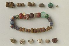 Viking glass beads, Ekebyhov, Sweden.
