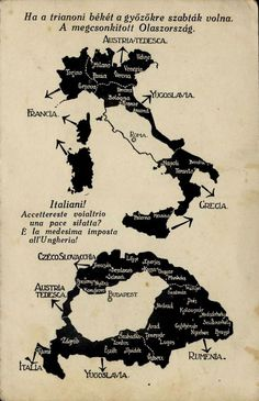 "A Hungarian nationalist picture addressed to Italians (in Hungarian and Italian) denounces the 1920 Trianon Treaty for ""vastly diminishing the size of Hungary"", and shows an hypothetical dismemberment of Italy with a similar impact. Heart Of Europe, Alternate History, Learning Italian, Old Maps, World War One, Historical Maps, World History, Infographic, Austria"
