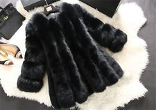 Women Fur Long Sleeve Winter Faux Fox Fur Coat Jacket Winter Outerwear Female