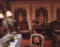 The Guest Room at the Chalet de Ferrières for the Rothschilds. Design by Francois Catroux. Maximalist Interior, House Of Gold, World Of Interiors, French Interiors, Provence Style, Weekend House, French Colonial, Guest Bedrooms, Guest Room