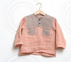 Natural linen toddler boys shirt Boho top in coral pink, sandy brown with pockets