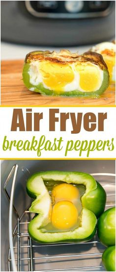 Air fryer breakfast stuffed peppers are the perfect low carb start to the day! - Air fryer breakfast stuffed peppers are the perfect low carb start to the day! A tender bell pepper - Air Fryer Recipes Potatoes, Air Fryer Recipes Snacks, Air Fryer Recipes Low Carb, Air Fryer Recipes Breakfast, Air Frier Recipes, Air Fryer Dinner Recipes, Low Carb Recipes, Ninja Recipes, Airfryer Breakfast Recipes