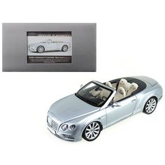 2016 Bentley Continental Gt Convertible Lhd Silver Frost 1-18 Diecast Model Car By Paragon 98231