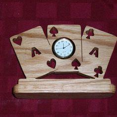 Wooden 3 aces miniature desk clock by Fine Crafts on Opensky