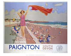 Vintage Travel poster produced for the Great Western Railway GWR promoting rail travel to Paignton South Devon The railway poster shows a bathing Posters Uk, Train Posters, Beach Posters, Railway Posters, British Travel, British Seaside, British Isles, Nostalgia, National Railway Museum